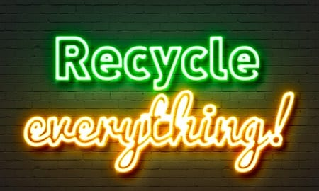 73383291 - recycle everything neon sign on brick wall background