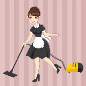 Lovely housewife with vintage maid dress cleaning using vacuum cleaner