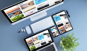 top view blue devices photo portfolio